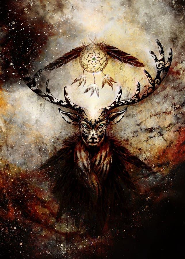 Spirito ornamentale sacro dei cervi con il simbolo di sogno del collettore e piume nello spazio cosmico illustrazione di stock