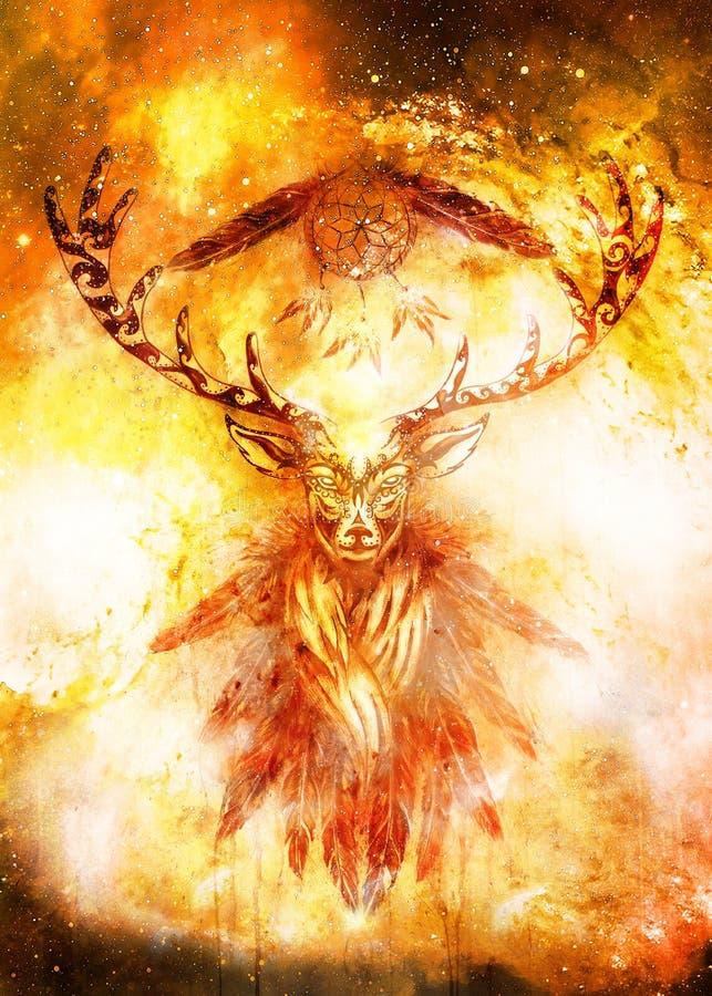 Spirito ornamentale sacro dei cervi con il simbolo di sogno del collettore e piume nello spazio cosmico illustrazione vettoriale
