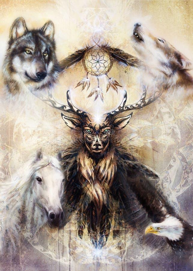 Spirito ornamentale sacro dei cervi con il simbolo di sogno e gli animali del collettore royalty illustrazione gratis