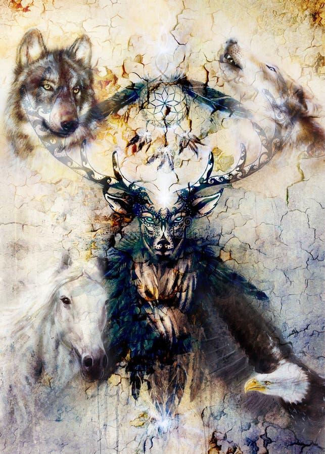 Spirito ornamentale sacro dei cervi con il simbolo di sogno e le piume del collettore royalty illustrazione gratis