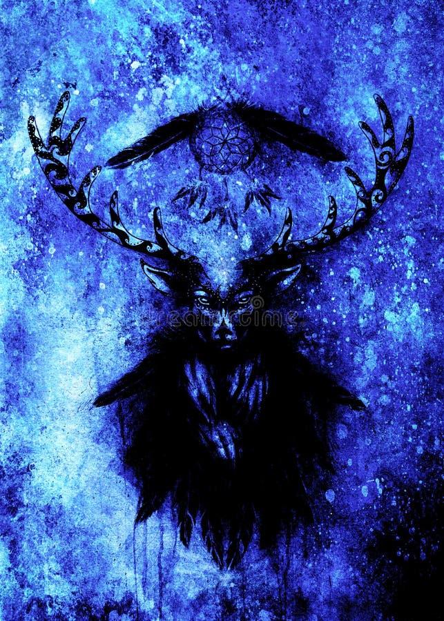Spirito ornamentale sacro dei cervi con il simbolo di sogno e le piume del collettore Effetto di inverno illustrazione di stock