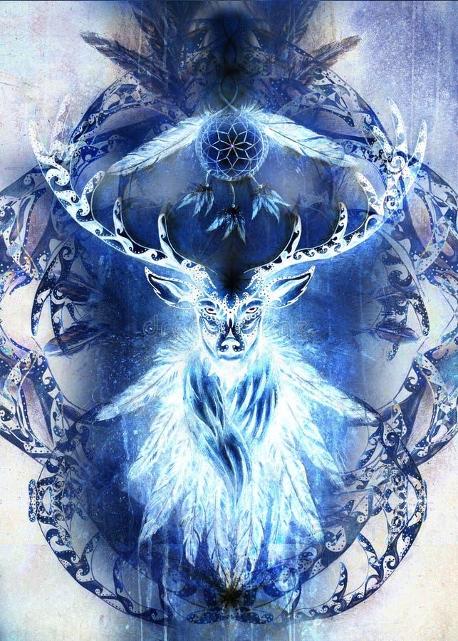 Spirito ornamentale sacro dei cervi con il simbolo di sogno e le piume del collettore Effetto di inverno royalty illustrazione gratis