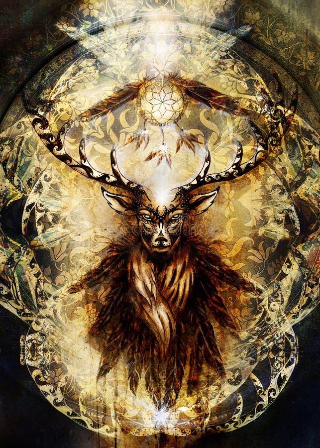 Spirito sacro dei cervi con il collettore e le piume di sogno su fondo ornamentale antico illustrazione di stock