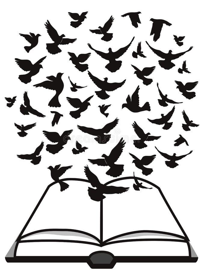 Spirito Santo della bibbia, un gruppo di volo della colomba sopra la bibbia illustrazione di stock