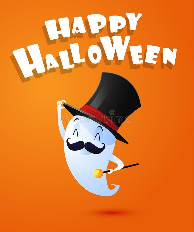 Spirito sveglio volante del fantasma con il cappello Halloween felice illustrazione vettoriale