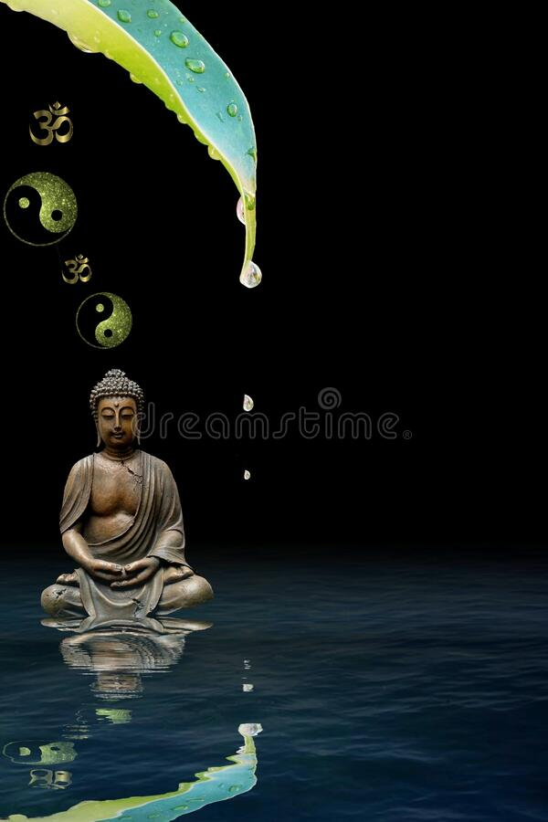 Spiritual background for meditation with buddha statue and yin yang symbol isolated in black background stock photo