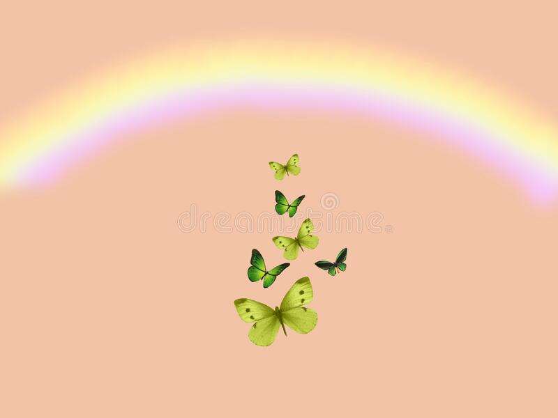Spiritual background for meditation with butterflies and rainbow isolated in color background stock images