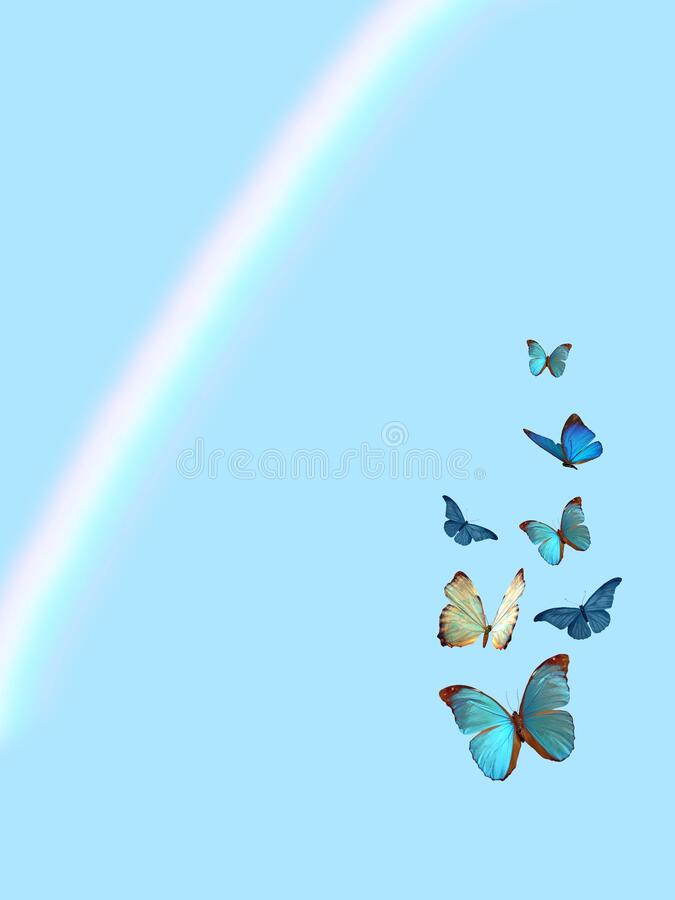 Spiritual background for meditation with butterflies and rainbow isolated in color background royalty free stock photo