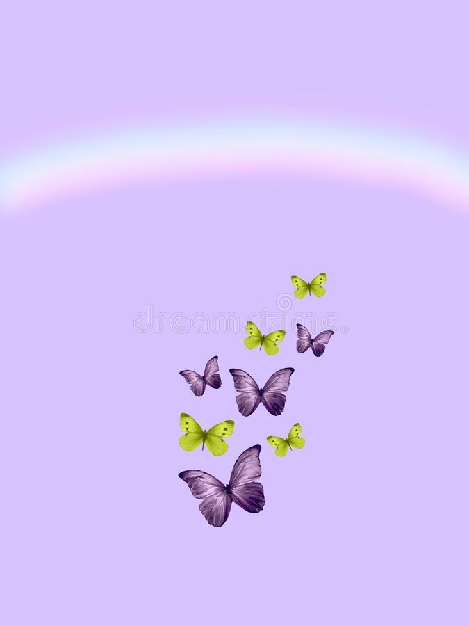 Spiritual background for meditation with butterflies and rainbow isolated in color background royalty free stock image