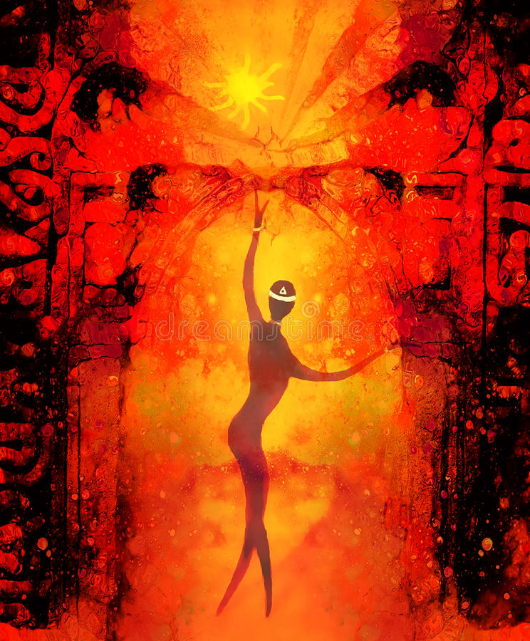 Spiritual beings in the universe and ancient gate in background. Painting and graphic effect. Spiritual beings in the universe and ancient gate in background royalty free illustration