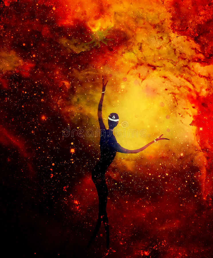 Spiritual beings in the universe. Painting and graphic effect. royalty free illustration