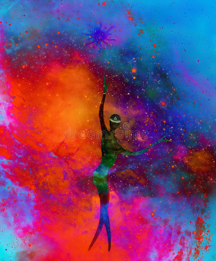 Spiritual beings in the universe. Painting and graphic effect. stock illustration