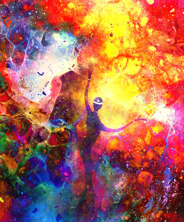 Spiritual beings in the universe. Painting and graphic effect. vector illustration