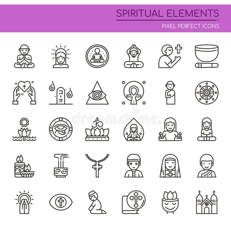 Spiritual Elements. Thin Line and Pixel Perfect Icons royalty free illustration