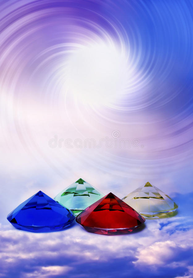 Spiritual energy. Pyramids of four elements with healing energy like a concept for reiki, chakra and other spiritual topics