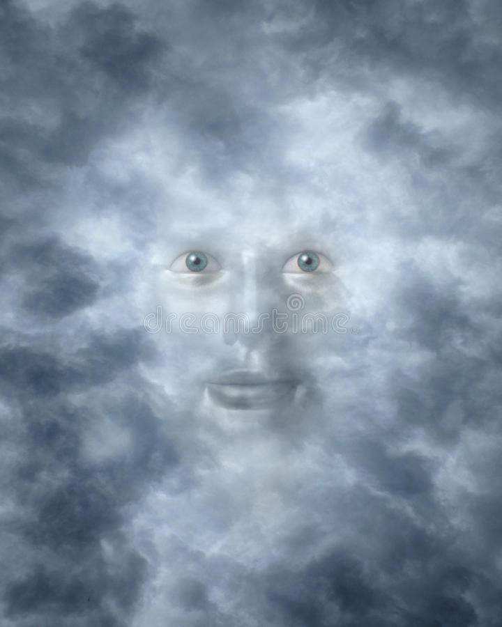 Free Spiritual Faces Peering Through Clouds Royalty Free Stock Photography - 31354407