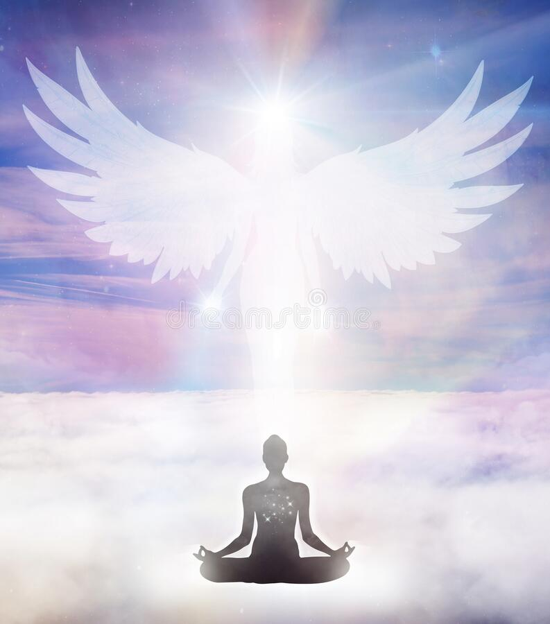 Free Spiritual Guidance, Angel Of Light And Love, Avatar Being, Miracle On Sky, Angelic Wings Stock Photos - 181047123
