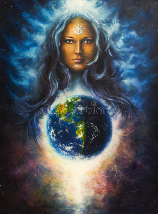 Free Spiritual Illustration, Beautiful Oil Painting On Canvas Of A Woman Goddess In Space, Eye Contact Stock Images - 50220964