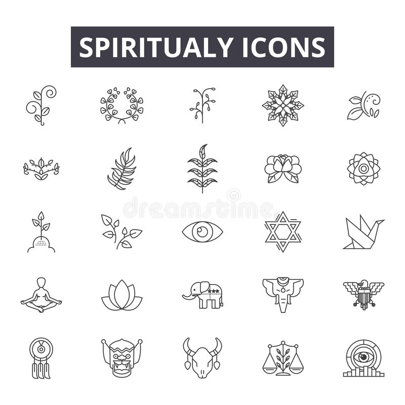 Spiritual line icons for web and mobile design. Editable stroke signs. Spiritual  outline concept illustrations vector illustration