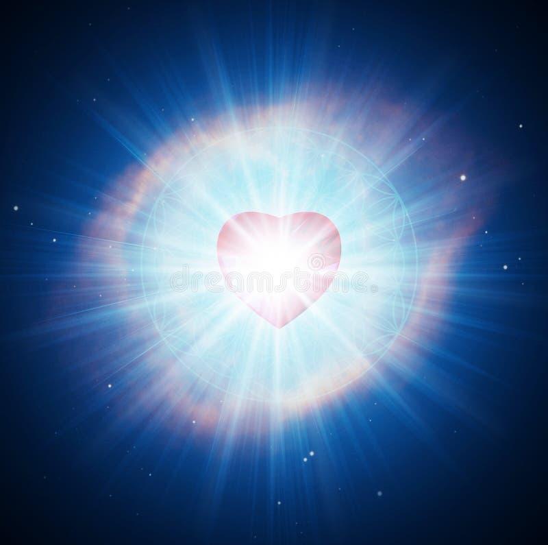 Free Spiritual Love Blue Ray Healing Energy, Power, Diamond Heart Grid, Flower Of Life, Evolution, Transformation Royalty Free Stock Image - 208055566