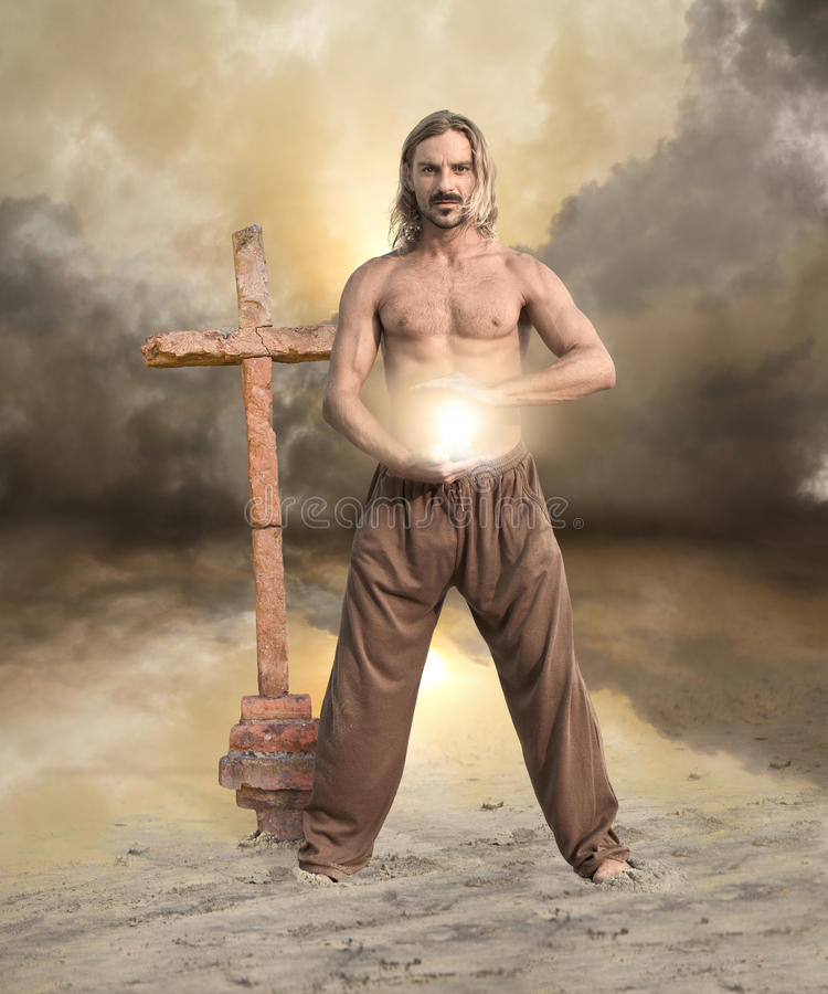 Spiritual Man Brings Light stock photography