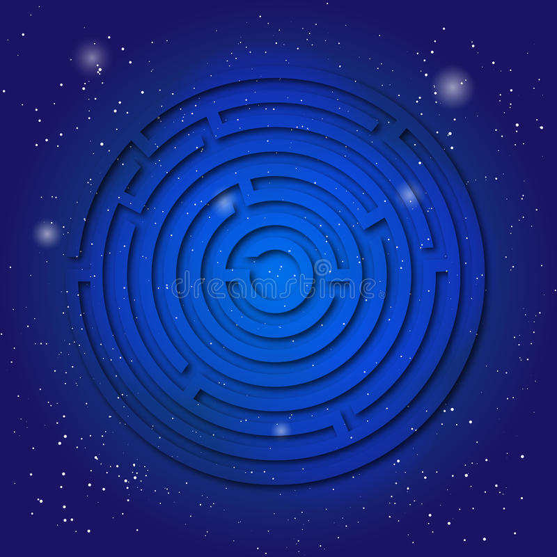 Spiritual sacred symbol of labyrinth on the deep blue cosmic sky. Sacral geometry in universe. vector illustration