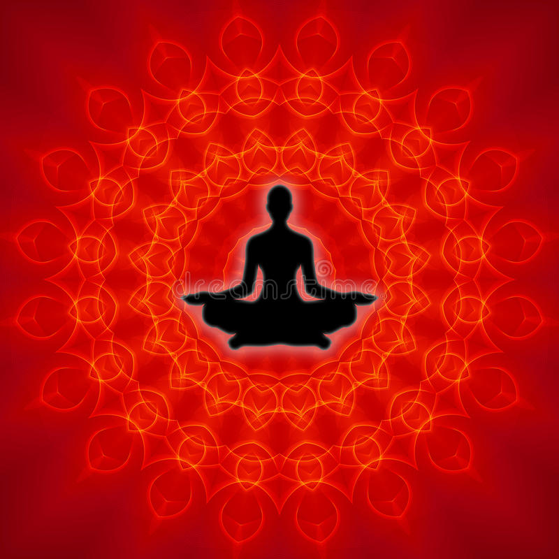 Spiritual Yoga. Yoga - Meditation On Spiritual Mandala Background