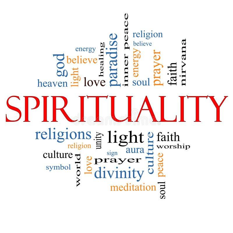 Spiritualiteitword Wolkenconcept stock illustratie