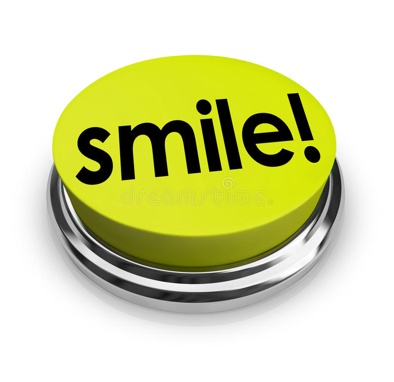 Spiritueux d'humeur drôle de bouton de jaune de Word de sourire bons illustration libre de droits