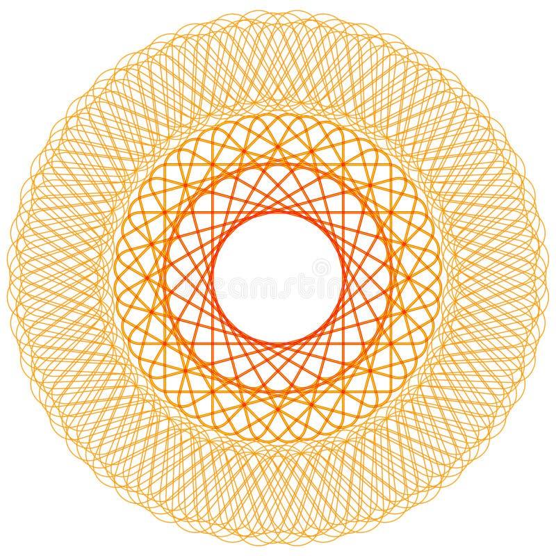 Spirograph abstracto del oro Elemento geométrico de la decoración, ejemplo del vector stock de ilustración
