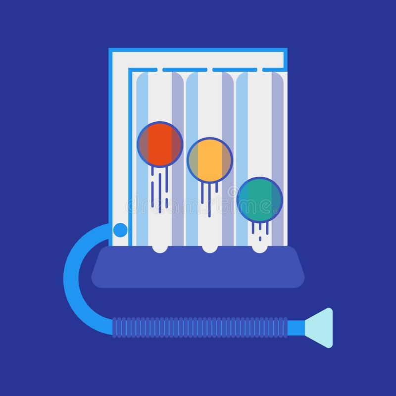 Spirometer medical equipment. The device determines the volume of the lungs. Vector flat icon stock illustration