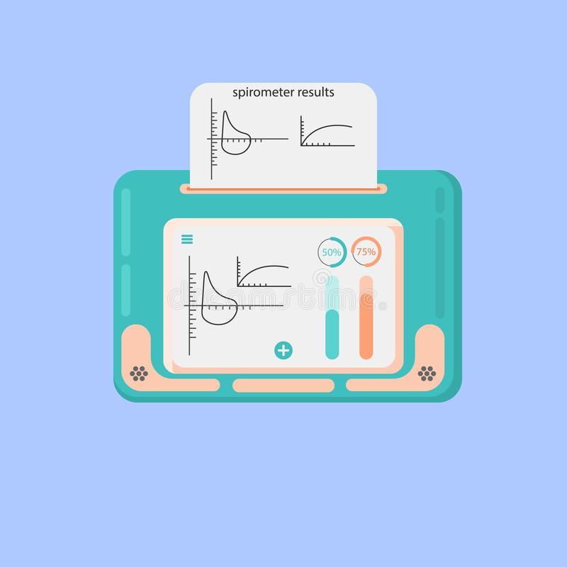 Spirometer medical equipment. The device determines the volume of the lungs. Vector flat icon.  stock illustration