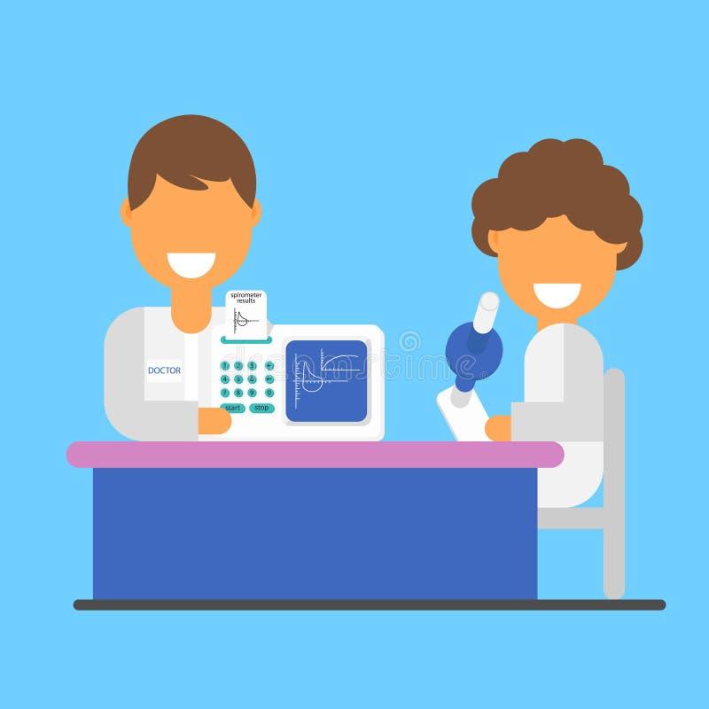 Spirometrie als wetenschap en onderzoek, een banner Vectorlongen, spirometrie en testresultaten stock illustratie