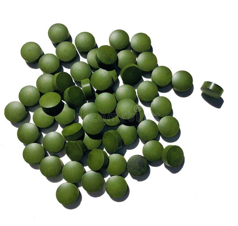 Spirulina ou comprimés de chlorella image libre de droits