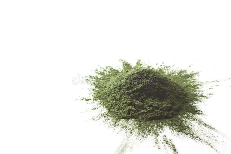 Spirulina raw powder on white background – heap. Spirulina raw powder on white background, heap stock photos