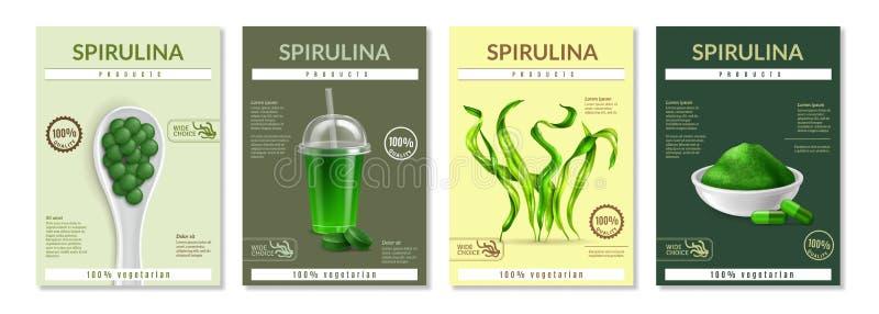 Spirulina realistiska annonserande affischer stock illustrationer