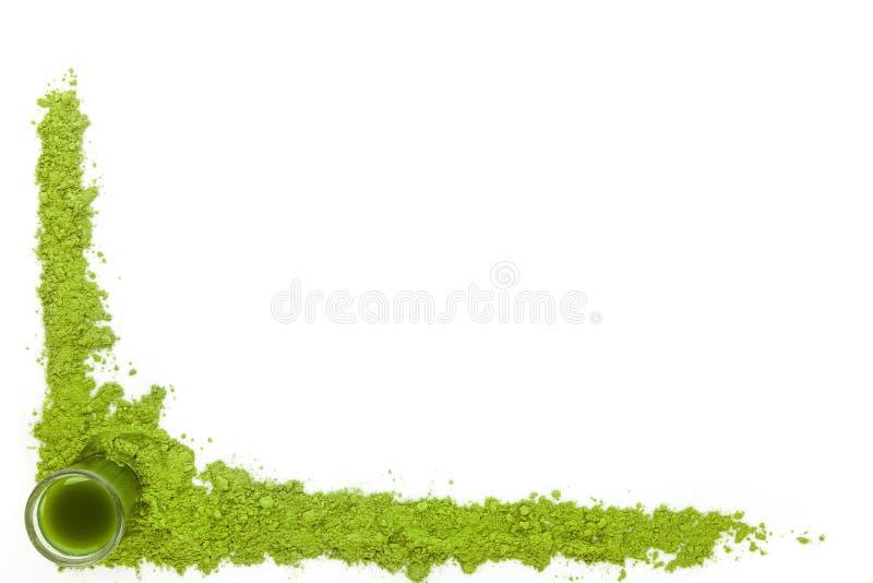 Spirulina, vetegräs och chlorellabakgrund arkivfoto