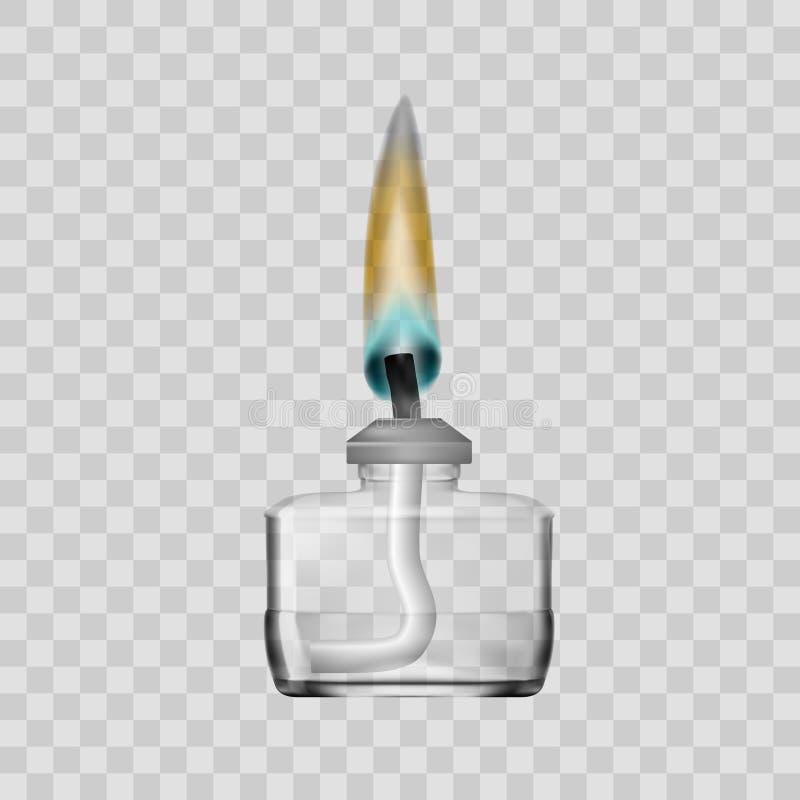 Spirytusowej lampy palnik Dla Chemicznego Lab Na Przejrzystym tle ilustracji