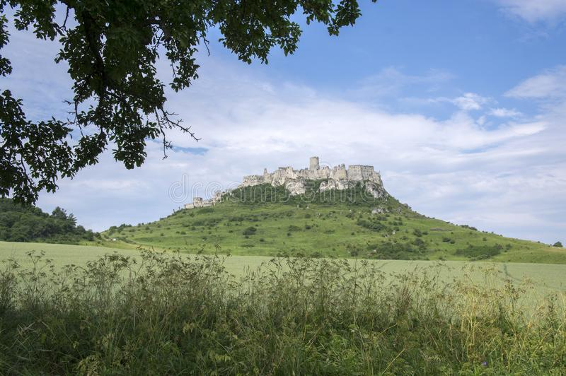 Spis castle on green hill in Slovakia stock image