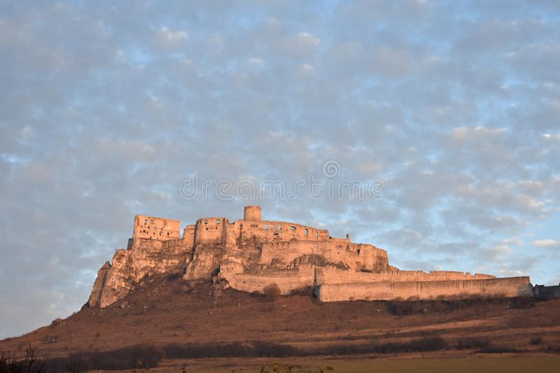Spis castle in the red royalty free stock photography