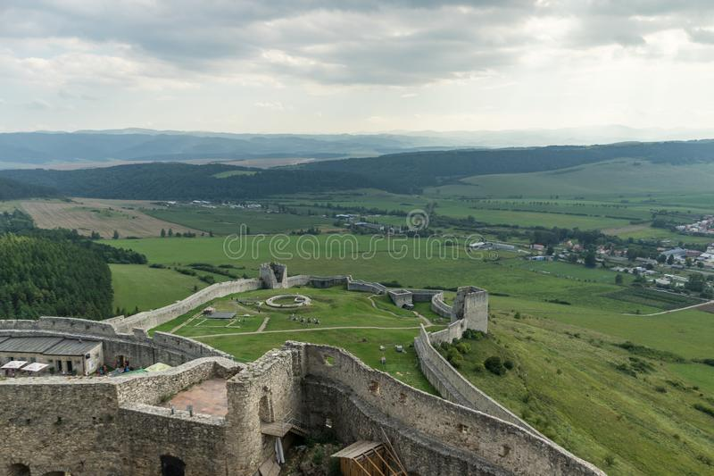 Spis Castle, Slovakia. View from Spis castle in Slovakia, ancient, heritage, historical, ruins, site, top stock photo