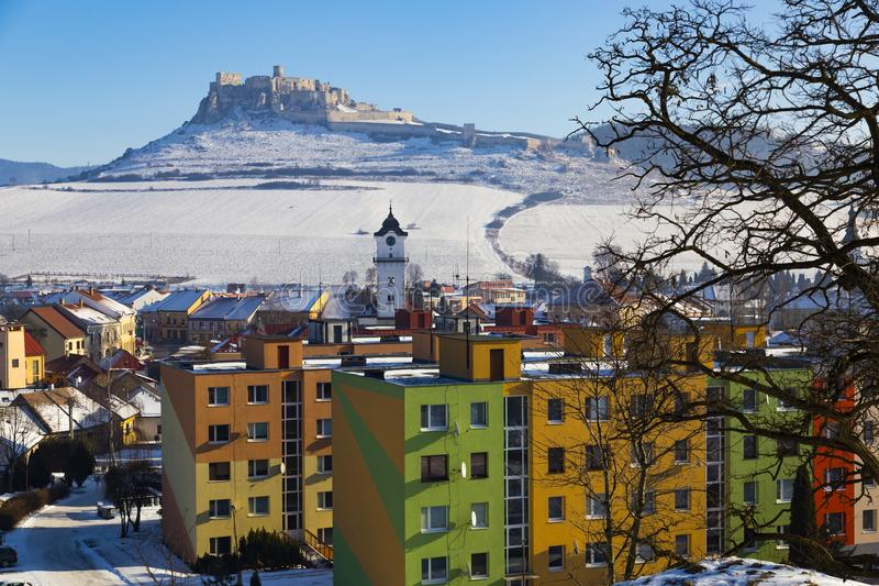 Spis Castle and Spisske Podhradie, Slovakia. History and modernity. View of the snow-covered Spis Castle Spissky hrad , the largest castle in Slovakia from the royalty free stock images