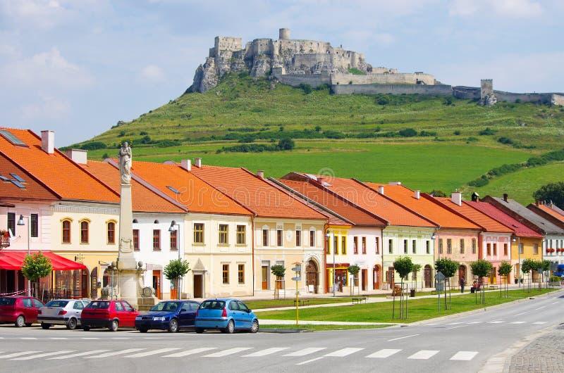 Spis Castle and Spisske Podhradie town, Slovakia. Spis Castle seen from Spisske Podhradie town, Slovakia stock photos