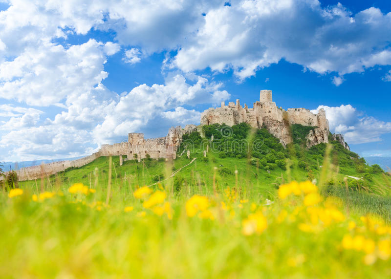 Spis castle at spring royalty free stock image