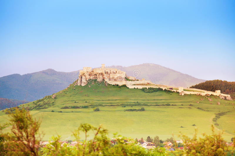 Spis Castle on sunset royalty free stock image