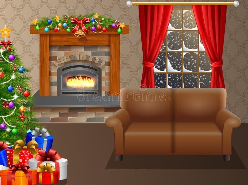 Spis och julgran med gåvor i vardagsrum royaltyfri illustrationer