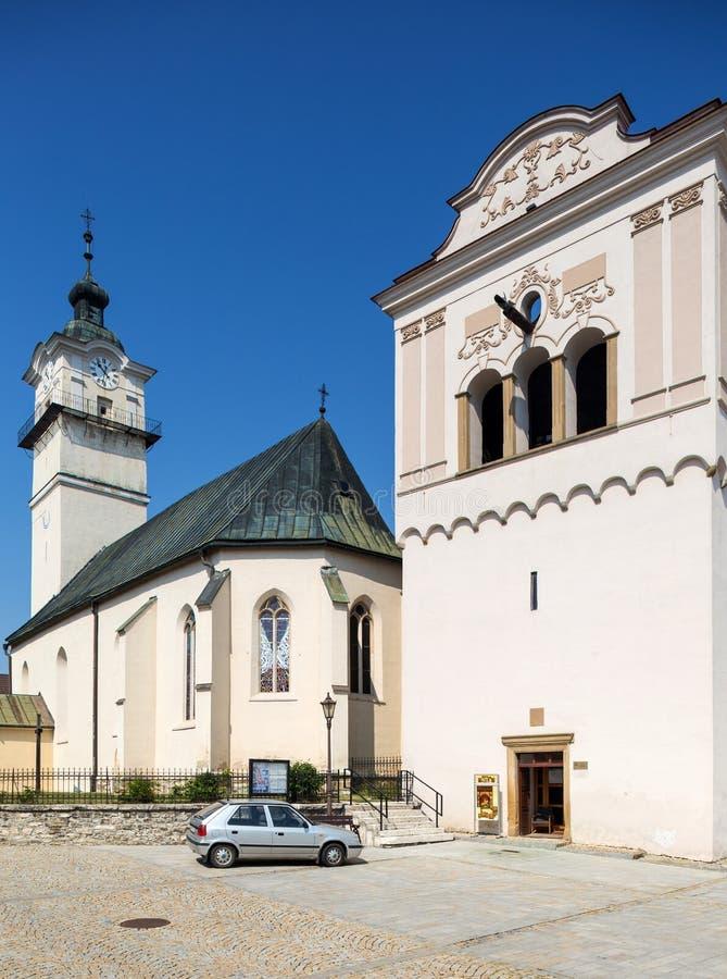 Spisska Sobota,斯洛伐克 2015?8?11? 圣乔治教会 免版税库存照片
