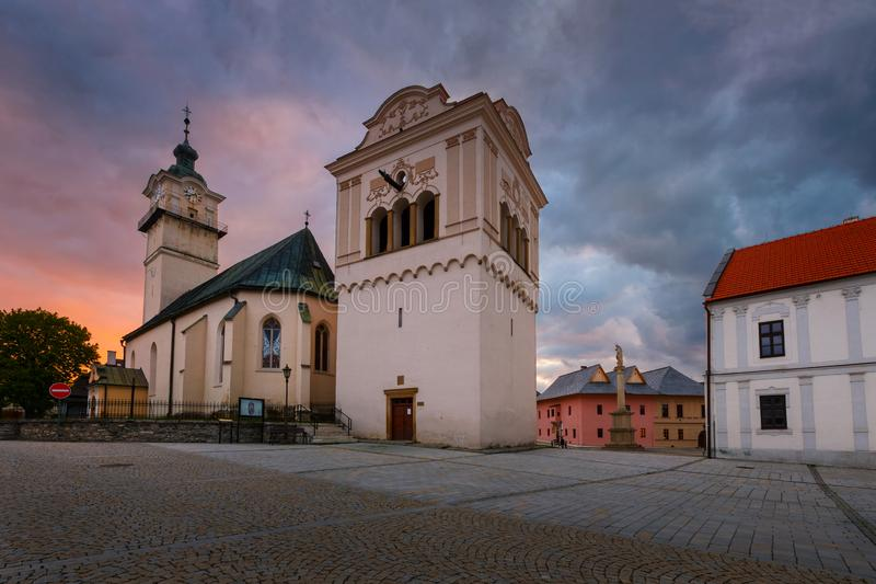 Spisska Sobota, Slovakia. Church, bell tower and town hall in the main square of Spisska Sobota in Poprad royalty free stock image