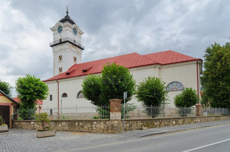 Spisske Podhradie, Slovakia. Parish Church of the Nativity of the Blessed Virgin Mary with Romanesque tower in Spisske Podhradie, Slovakia royalty free stock images