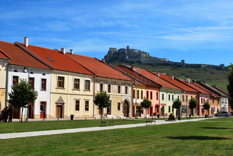 The town of Spisske Podhradie with the Spis Castle in the background. Spisske Podhradie, Slovakia - September 12,2018: The town of Spisske Podhradie with the stock images